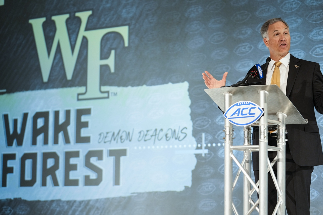 Jul 22, 2021; Charlotte, NC, USA; Wake Forest Demon Deacons coach Dave Clawson speaks to the media during the ACC Kickoff at The Westin Charlotte. Mandatory Credit: Jim Dedmon-USA TODAY Sports