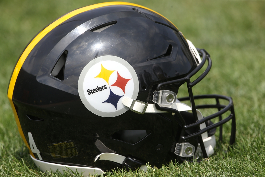 Jul 23, 2021; Pittsburgh, PA, United States;  A Pittsburgh Steelers helmet is seen during training camp at the Rooney UPMC Sports Performance Complex. Mandatory Credit: Charles LeClaire-USA TODAY Sports