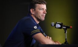 Jul 27, 2021; Hollywood, CA, USA; California Bears head coach Justin Wilcox speaks with the media during the Pac-12 football Media Day at the W Hollywood. Mandatory Credit: Kelvin Kuo-USA TODAY Sports