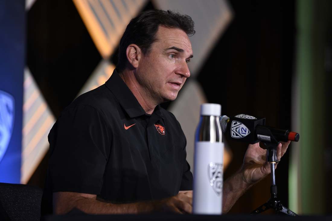 Jul 27, 2021; Hollywood, CA, USA; Oregon State Beavers head coach Jonathan Smith speaks with the media during the Pac-12 football Media Day at the W Hollywood. Mandatory Credit: Kelvin Kuo-USA TODAY Sports