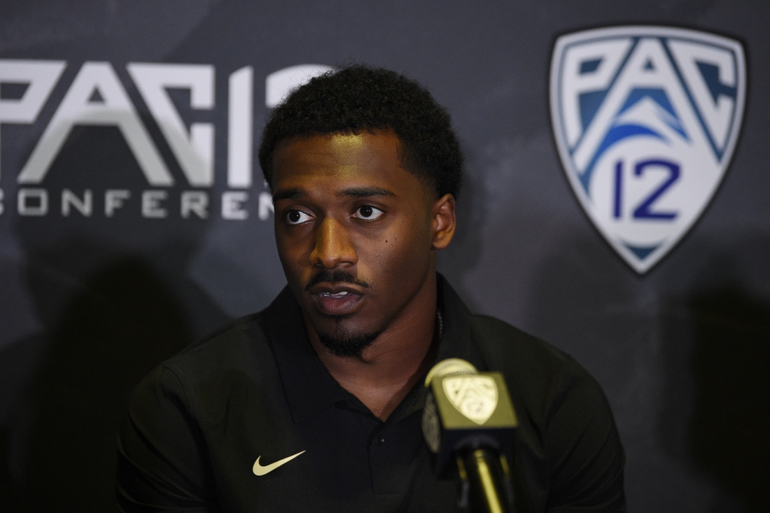 Jul 27, 2021; Hollywood, CA, USA; Colorado Buffaloes head coach Karl Dorrell, wide receiver Dimitri Stanley, linebacker Nate Landman speaks with the media during the Pac-12 football Media Day at the W Hollywood. Mandatory Credit: Kelvin Kuo-USA TODAY Sports