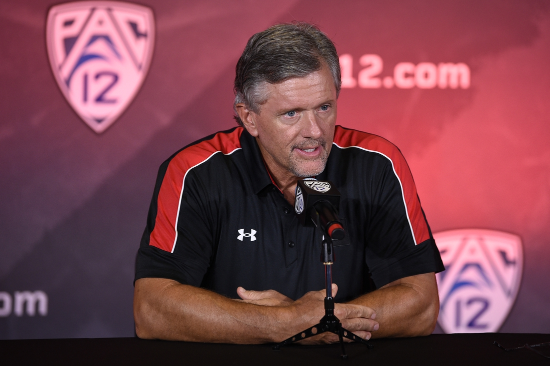 Jul 27, 2021; Hollywood, CA, USA; Utah Utes head coach Kyle Whittingham speaks with the media during the Pac-12 football Media Day at the W Hollywood. Mandatory Credit: Kelvin Kuo-USA TODAY Sports