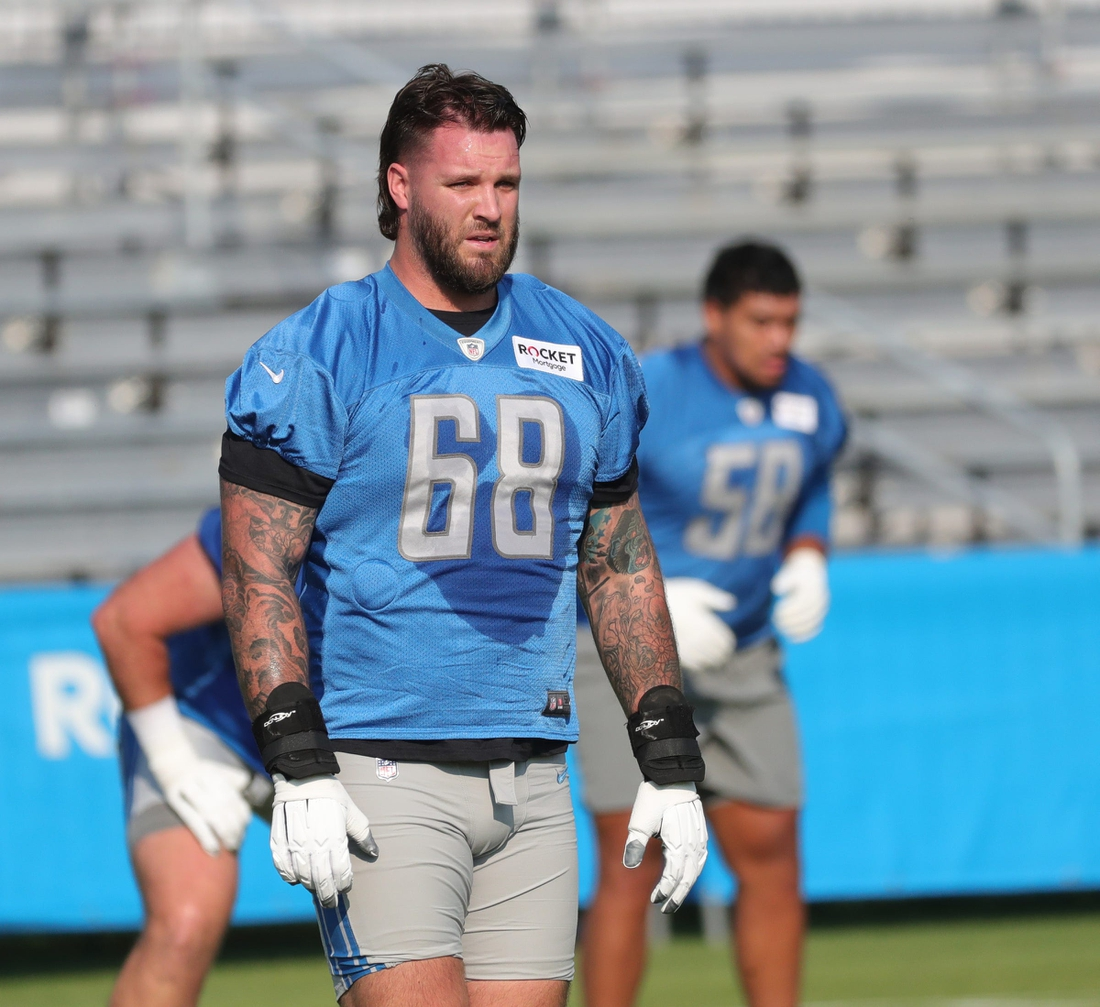 Lions lineman Taylor Decker goes through drills during training camp at the Allen Park facility on Wednesday, July 28, 2021.  Lions