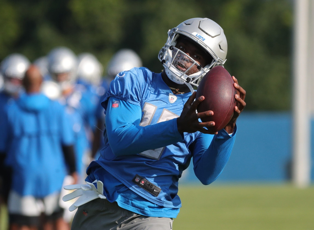 July 28, 2021; Detroit, MI, USA; Detroit Lions receiver Breshad Perriman catches a pass during training camp at the Allen Park facility on Wednesday, July 28, 2021.  Mandatory Credit: Kirthmon F. Dozier-USA TODAY NETWORK