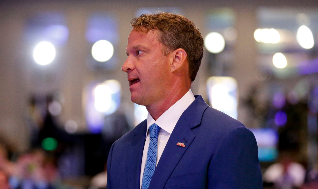 Ole Miss Head Coach Lane Kiffin waits to be introduced in the main media room during SEC Media Days at the Hyatt Regency in Hoover, Ala., Tuesday, July 20, 2021. [Staff Photo/Gary Cosby Jr.]  Sec Media Days Ole Miss
