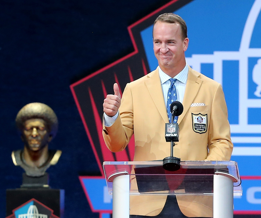 Peyton Manning was enshrined in the Pro Football Hall of Fame at Tom Benson Hall of Fame Stadium on Sunday, August 8, 2021. Manning was presented by father Archie Manning.  Enshrinement2021 9313