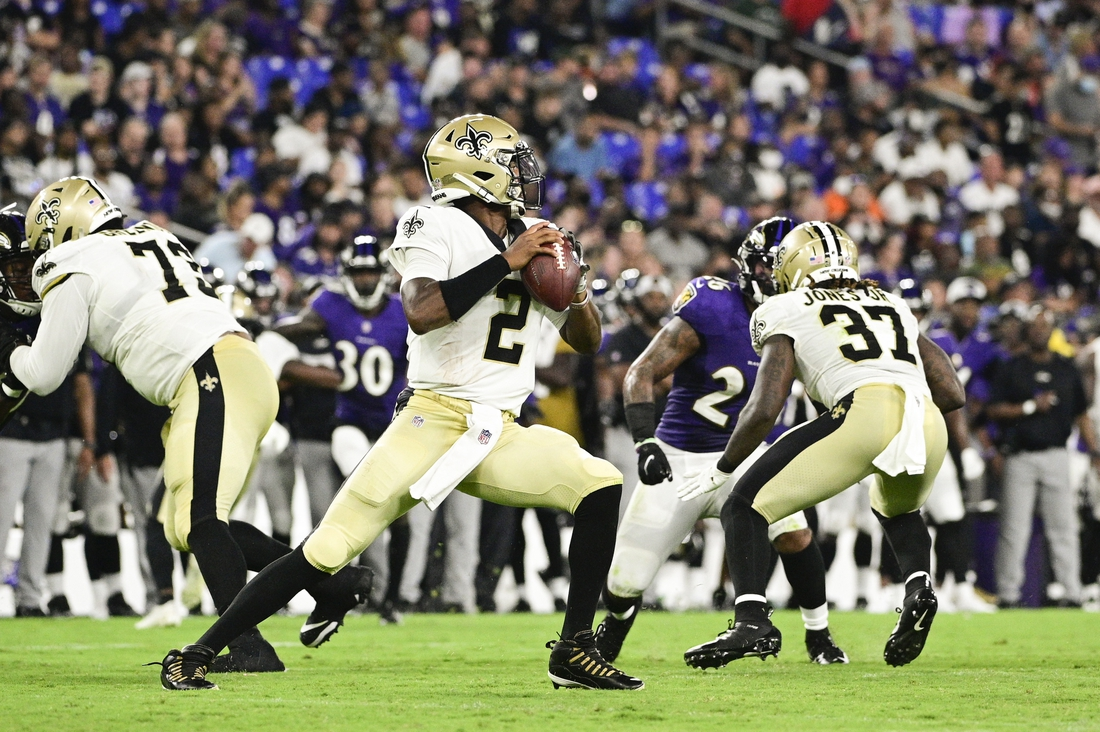 Aug 14, 2021; Baltimore, Maryland, USA;  New Orleans Saints quarterback Jameis Winston (2) drops back to pass during the second quarter against the Baltimore Ravens at M&T Bank Stadium. Mandatory Credit: Tommy Gilligan-USA TODAY Sports
