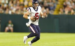 Aug 14, 2021; Green Bay, Wisconsin, USA; Houston Texans quarterback Jeff Driskel (6) rushes with the football during the third quarter against the Green Bay Packers at Lambeau Field. Mandatory Credit: Jeff Hanisch-USA TODAY Sports