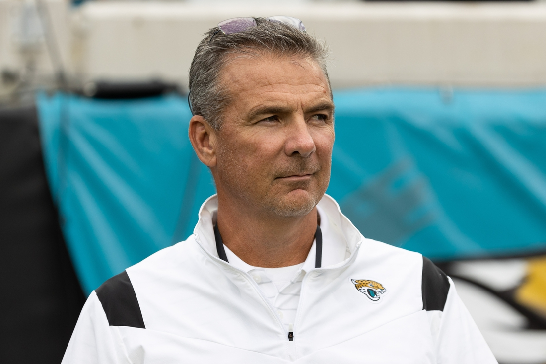 Aug 14, 2021; Jacksonville, FL, USA; Jacksonville Jaguars head coach Urban Meyer watches warmups from the tunnel before the game against the Browns at TIAA Bank Field. Mandatory Credit: Matt Pendleton-USA TODAY Sports