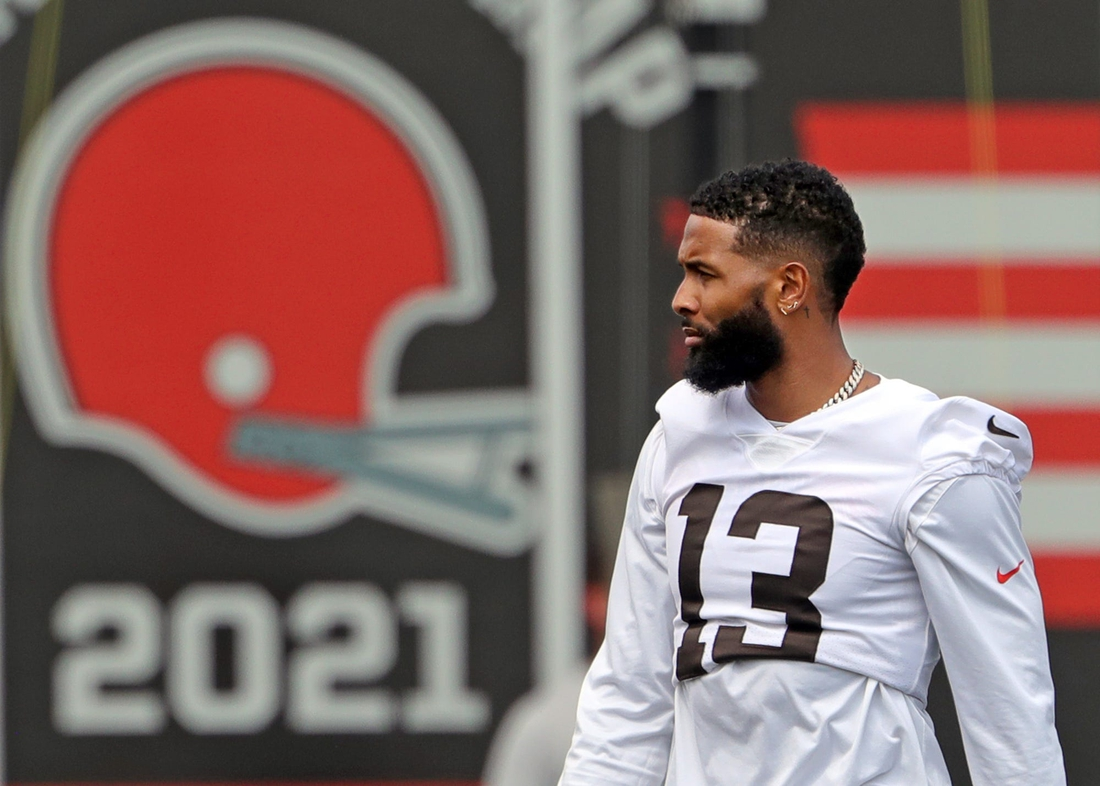 Browns receiver Odell Beckham Jr. has impressed teammates with his return from knee surgery.  Brownscamp31 17