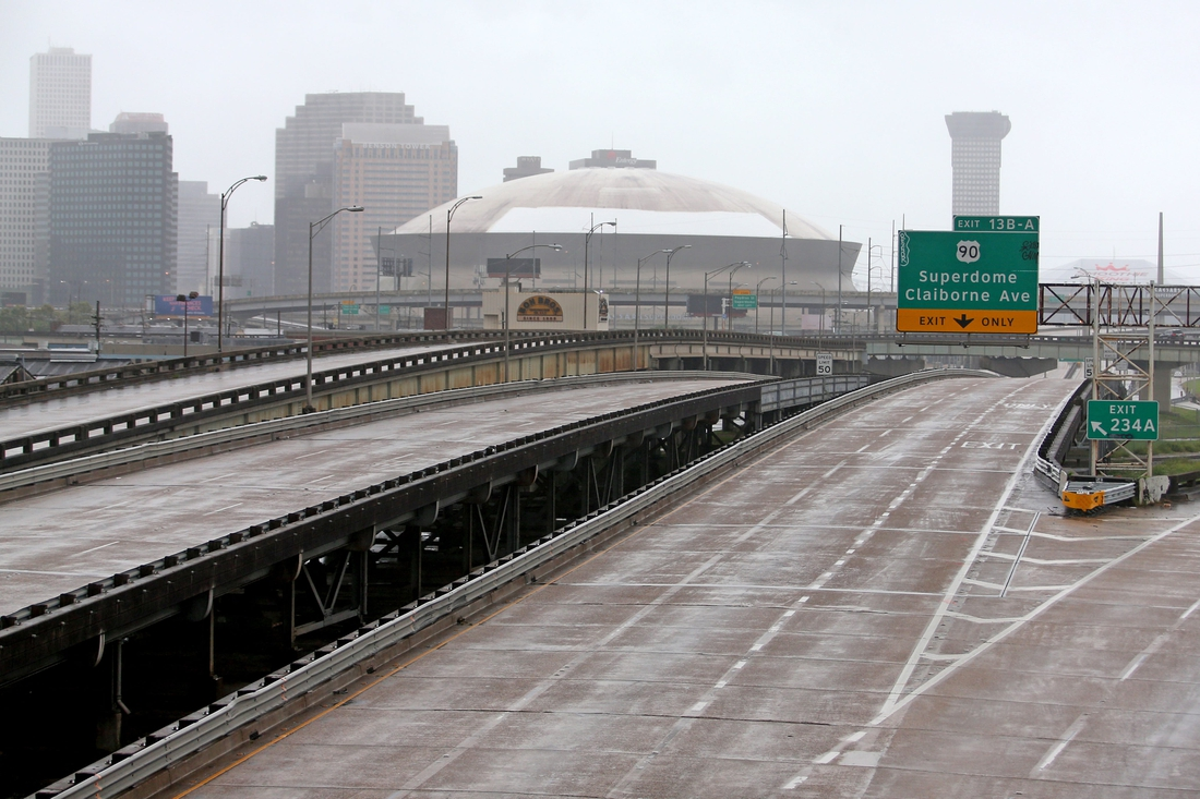 The roads are empty around downtown and the Superdome as the effects of Hurricane Ida begin to be felt in New Orleans on Sunday, Aug. 29, 2021.  Nolaidasun01