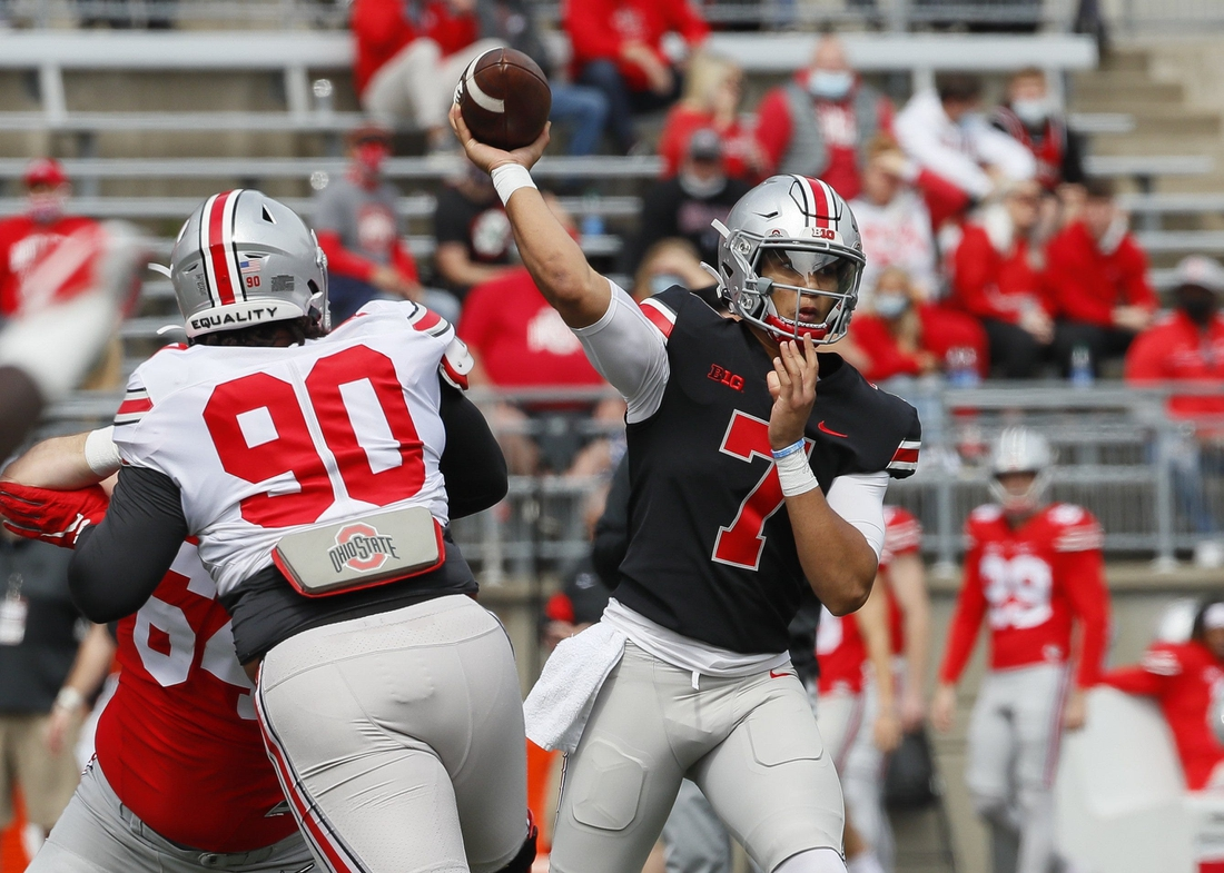 Team Brutus quarterback C.J. Stroud (7) throws a pass during the Ohio State Buckeyes football spring game at Ohio Stadium in Columbus on Saturday, April 17, 2021.  Ohio State Football Spring Game