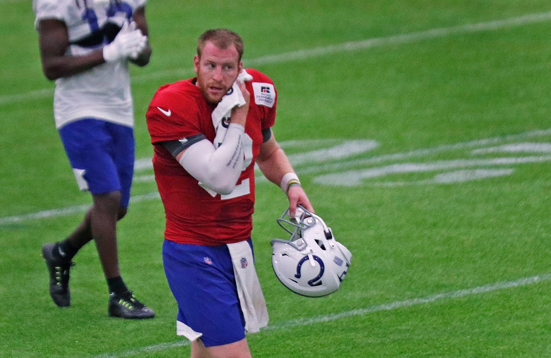 Quarterback Carson Wentz (#2) cools down between drills during the last day of Colts camp practice Wednesday, Aug. 25, 2021 at Grand Park Sports Campus in Westfield.  Last Day Of Colts Camp Practice Wednesday Aug 25 2021