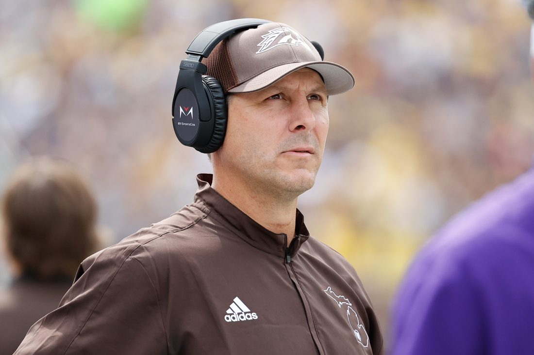 Sep 4, 2021; Ann Arbor, Michigan, USA;  Western Michigan Broncos head coach Tim Lester on the sideline in the first half against the Michigan Wolverines at Michigan Stadium. Mandatory Credit: Rick Osentoski-USA TODAY Sports