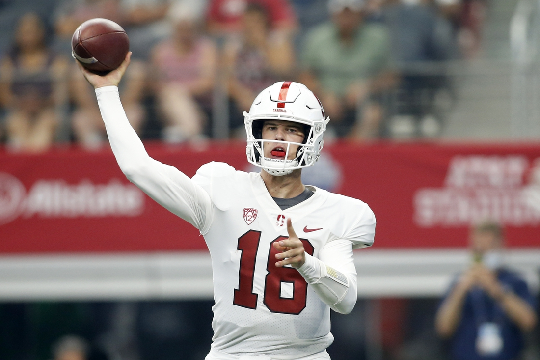 Sep 4, 2021; Arlington, Texas, USA; Stanford Cardinal quarterback Tanner McKee (18) throws a pass in the second quarter against the Kansas State Wildcats at AT&T Stadium. Mandatory Credit: Tim Heitman-USA TODAY Sports