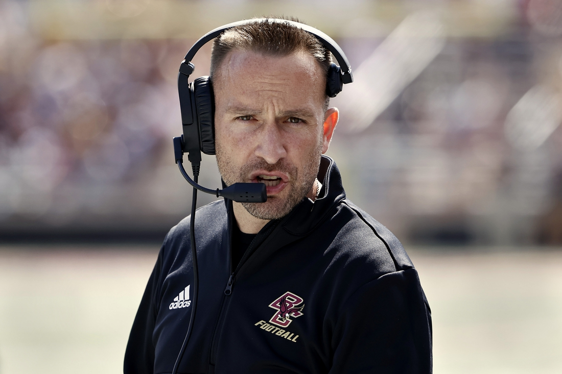 Sep 4, 2021; Chestnut Hill, Massachusetts, USA; Boston College Eagles head coach Jeff Hafley along the sidelines during the first half against the Colgate Raiders at Alumni Stadium. Mandatory Credit: Winslow Townson-USA TODAY Sports