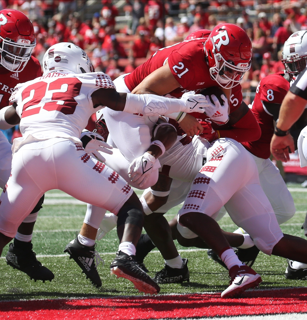 Johnny Langan of Rutgers scores one his first half TD's as Temple played Rutgers in the season opener at SHI Stadium in Piscataway, NJ on September 4, 2021.  Temple Played Rutgers In The Season Opener At Shi Stadium In Piscataway Nj On September 4 2021