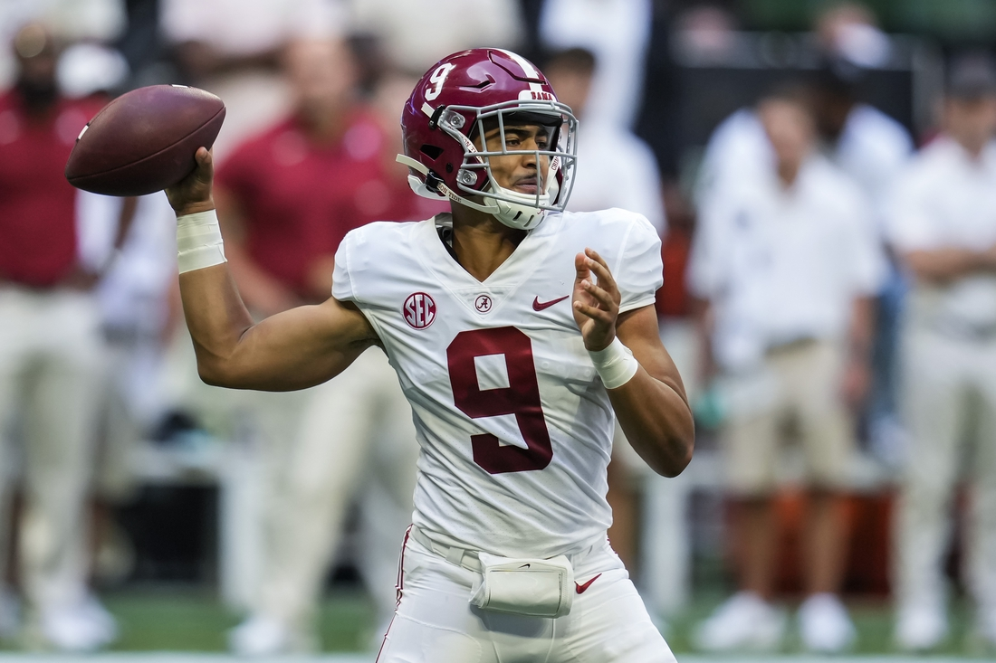 Sep 4, 2021; Atlanta, Georgia, USA; Alabama Crimson Tide quarterback Bryce Young (9) passes against the Miami Hurricanes during the first high at Mercedes-Benz Stadium. Mandatory Credit: Dale Zanine-USA TODAY Sports