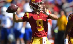 Sep 4, 2021; Los Angeles, California, USA;   USC Trojans quarterback Kedon Slovis (9) sets to pass in the first half of the game against the San Jose State Spartans at United Airlines Field at Los Angeles Memorial Coliseum. Mandatory Credit: Jayne Kamin-Oncea-USA TODAY Sports