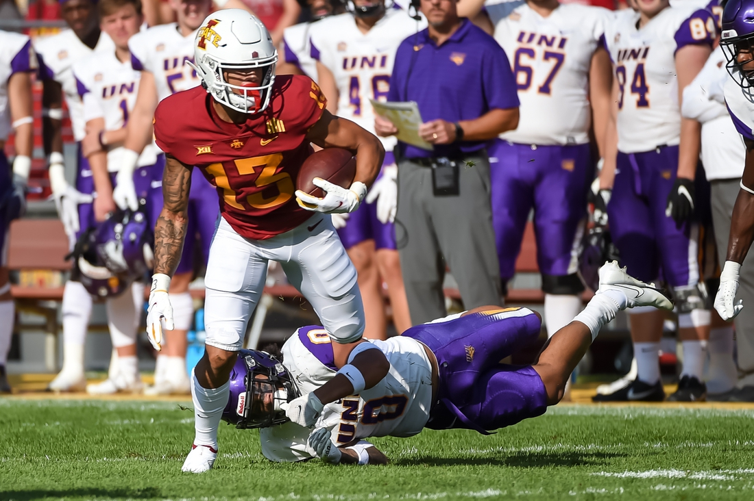Sep 4, 2021; Ames, Iowa, USA;  Iowa State Cyclones wide receiver Jaylin Noel (13) runs from Northern Iowa Panthers defensive back Jevon Brekke (0) in the first half at Jack Trice Stadium. Mandatory Credit: Steven Branscombe-USA TODAY Sports