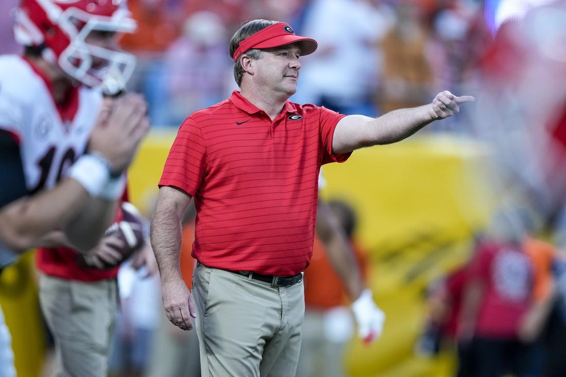 Sep 4, 2021; Charlotte, North Carolina, USA; Georgia Bulldogs head coach Kirby Smart during warm ups before the start of the first quarter against the Clemson Tigers at Bank of America Stadium. Mandatory Credit: Jim Dedmon-USA TODAY Sports