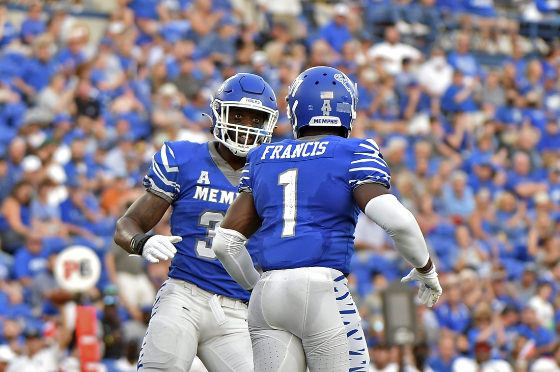 Sep 4, 2021; Memphis, Tennessee, USA; Memphis Tigers defensive back Rodney Owens (30) and defensive back Jacobi Francis (1) celebrate during the first half against the Nicholls State Colonels at Liberty Bowl Memorial Stadium. Mandatory Credit: Justin Ford-USA TODAY Sports