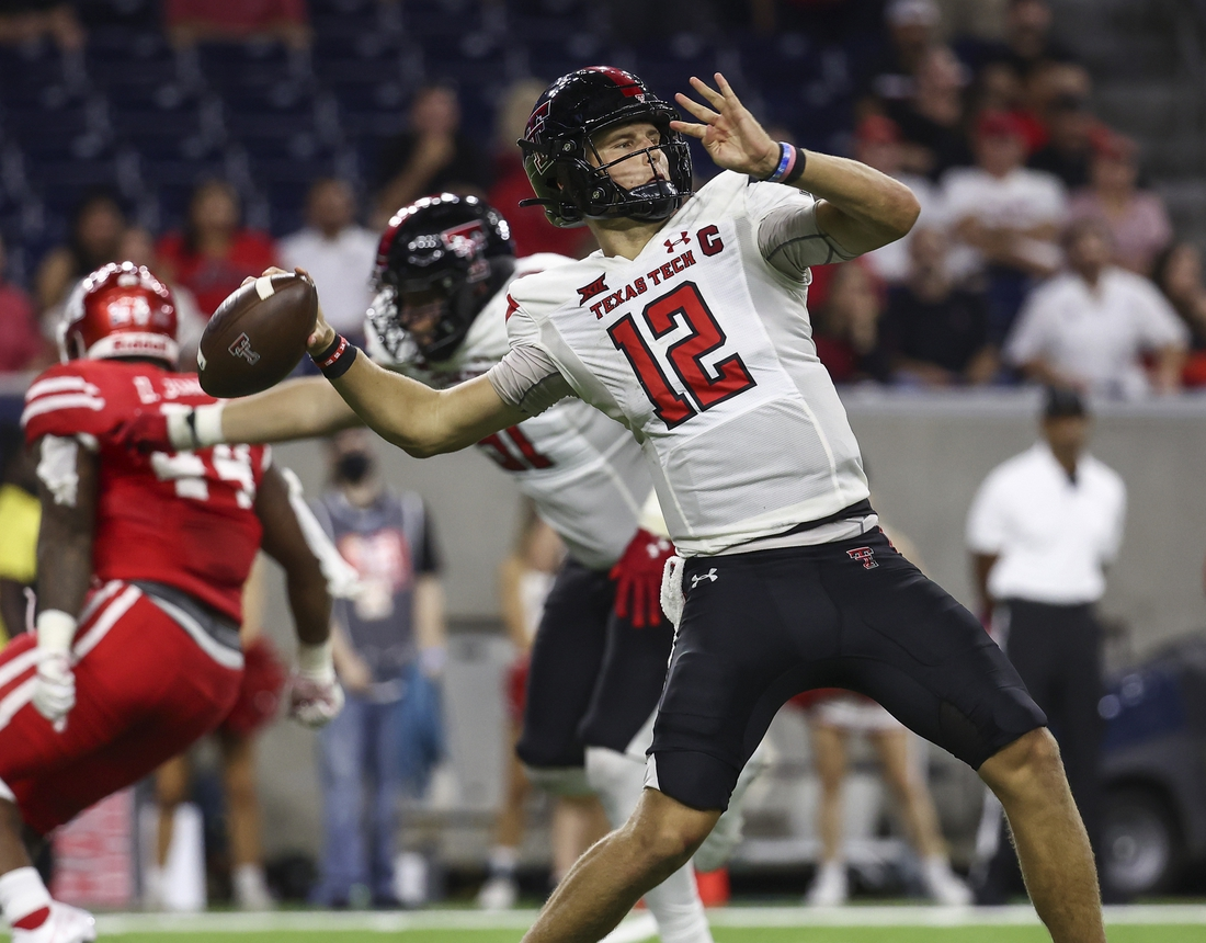 Sep 4, 2021; Houston, Texas, USA; Texas Tech Red Raiders quarterback Tyler Shough (12) attempts a pass during the fourth quarter against the Houston Cougars at NRG Stadium. Mandatory Credit: Troy Taormina-USA TODAY Sports