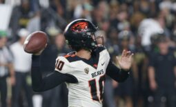 Oregon State quarterback Chance Nolan (10) throws during the third quarter of an NCAA college football game, Saturday, Sept. 4, 2021 at Ross-Ade Stadium in West Lafayette.  Cfb Purdue Vs Oregon State