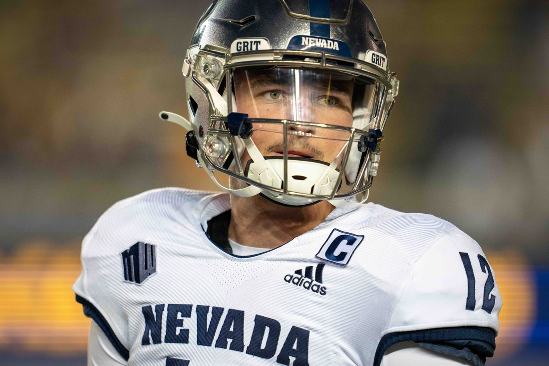 Sep 4, 2021; Berkeley, California, USA; Nevada Wolf Pack quarterback Carson Strong (12) on the sidelines awaiting his turn to take the field against the California Golden Bears during the first quarter at FTX Field at California Memorial Stadium. Mandatory Credit: Neville E. Guard-USA TODAY Sports