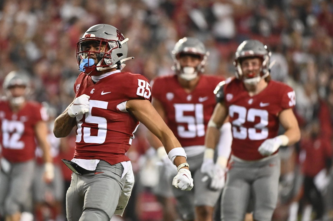 Sep 4, 2021; Pullman, Washington, USA; Washington State Cougars Lincoln Victor (85) celebrates a tackle on special team during a game against the Utah State Aggies in the second half at Gesa Field at Martin Stadium. The Aggies26-23. Mandatory Credit: James Snook-USA TODAY Sports