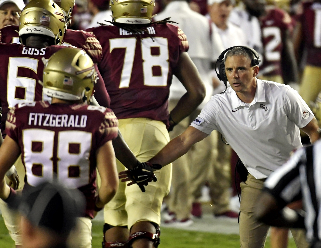 Sep 5, 2021; Tallahassee, Florida, USA; Florida State Seminoles head coach Mike Norvell during the game against the Notre Dame Fighting Irish at Doak S. Campbell Stadium. Mandatory Credit: Melina Myers-USA TODAY Sports