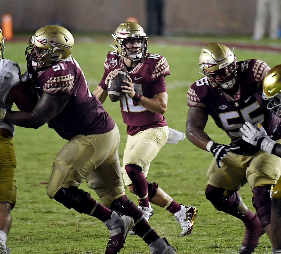 Sep 5, 2021; Tallahassee, Florida, USA; Florida State Seminoles quarterback McKenzie Milton (10) looks to throw during the fourth quarter against the Notre Dame Fighting Irish at Doak S. Campbell Stadium. Mandatory Credit: Melina Myers-USA TODAY Sports