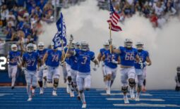 Sep 10, 2021; Boise, Idaho, USA; Boise State Broncos bring the American flag onto the field prior to the game against the UTEP Miners at Albertsons Stadium. Mandatory Credit: Brian Losness-USA TODAY Sports