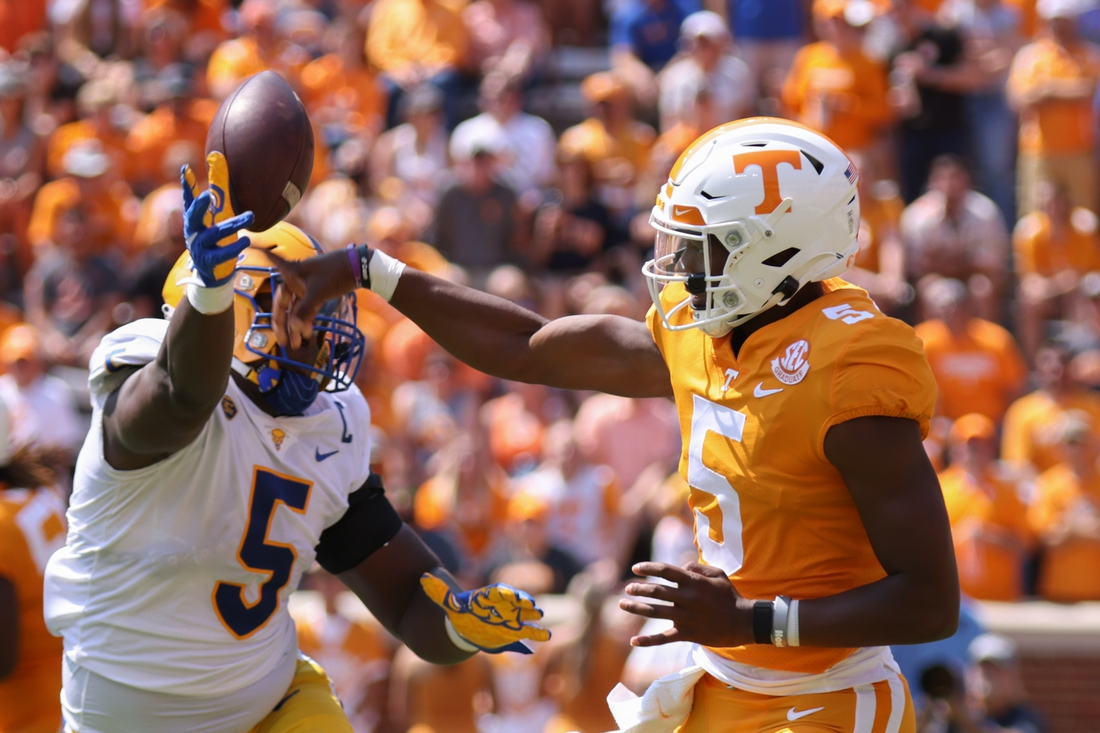 Sep 11, 2021; Knoxville, Tennessee, USA; Pittsburgh Panthers defensive lineman Deslin Alexandre (5) tips a pass from Tennessee Volunteers quarterback Hendon Hooker (5) during the second quarter at Neyland Stadium. Mandatory Credit: Randy Sartin-USA TODAY Sports