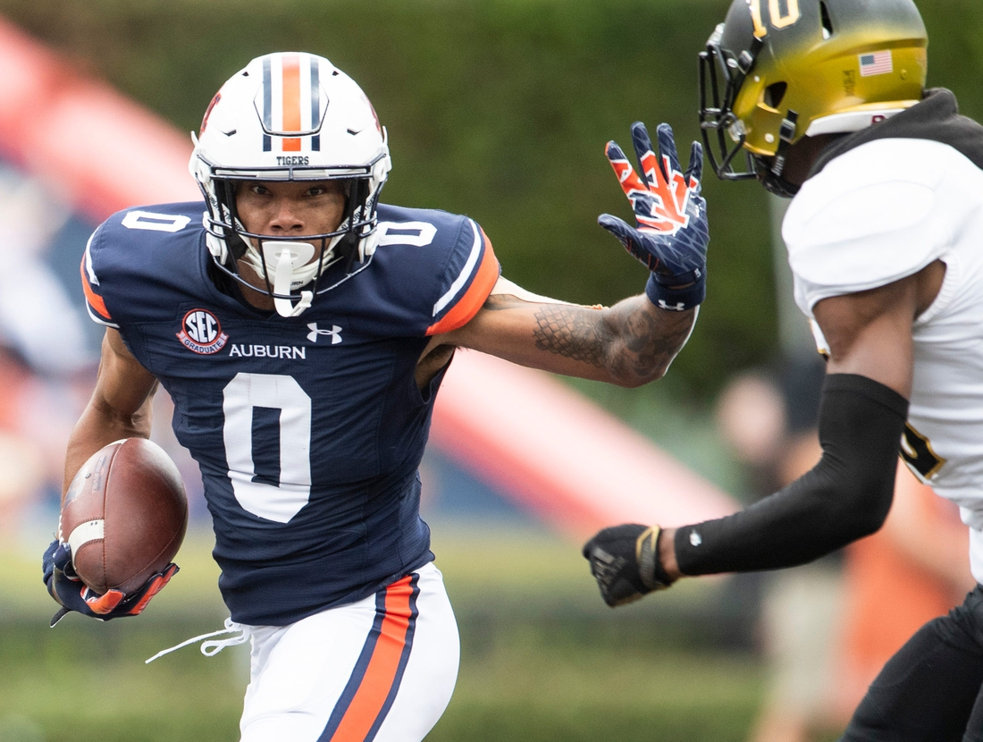 Auburn Tigers wide receiver Demetris Robertson (0) runs the ball after a catch at Jordan-Hare Stadium in Auburn, Ala., on Saturday, Sept. 11, 2021. Auburn Tigers leads Alabama State Hornets 20-0 at halftime.