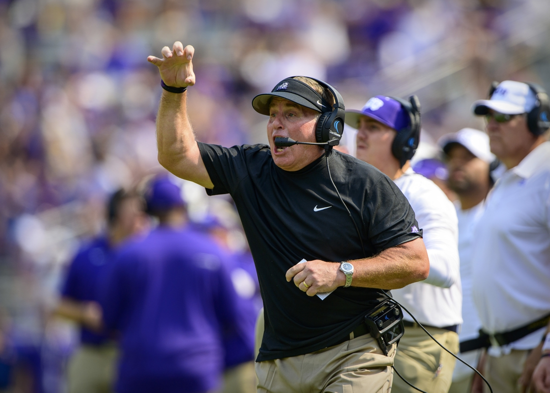 Sep 11, 2021; Fort Worth, Texas, USA; TCU Horned Frogs head coach Gary Patterson yells to his team during the first half against the California Golden Bears of the game at Amon G. Carter Stadium. Mandatory Credit: Jerome Miron-USA TODAY Sports