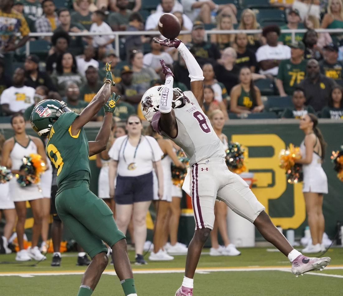 Sep 11, 2021; Waco, Texas, USA; Texas Southern Tigers defensive back Ja'Corey Benjamin (8) breaks up a pass intended for Baylor Bears wide receiver Tyquan Thornton (9) at McLane Stadium. Mandatory Credit: Scott Wachter-USA TODAY Sports
