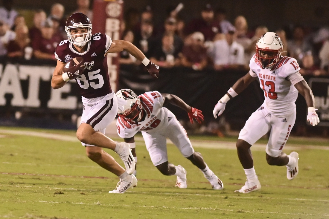 Sep 11, 2021; Starkville, Mississippi, USA; Mississippi State Bulldogs wide receiver Austin Williams (85) returns a punt against the North Carolina State Wolfpack during the second quarter at Davis Wade Stadium at Scott Field. Mandatory Credit: Matt Bush-USA TODAY Sports