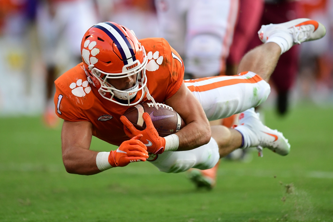 Sep 11, 2021; Clemson, South Carolina, USA; Clemson Tigers running back Will Shipley (1) dives for a touchdown against the South Carolina State Bulldogs during the third quarter at Memorial Stadium. Mandatory Credit: Adam Hagy-USA TODAY Sports