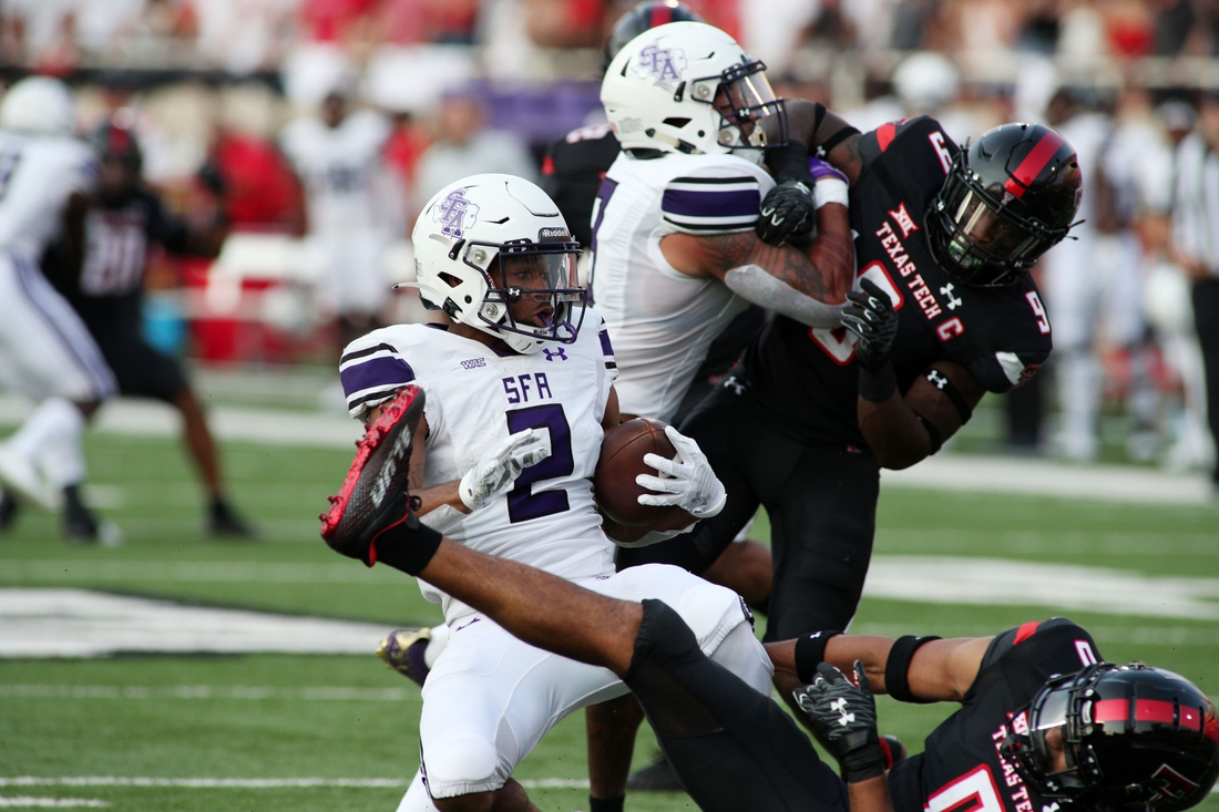 Sep 11, 2021; Lubbock, Texas, USA;  Stephen F. Austin Lumberjacks wide receiver Xavier Gipson (2) rushes against the Texas Tech Red Raiders in the first half at Jones AT&T Stadium. Mandatory Credit: Michael C. Johnson-USA TODAY Sports