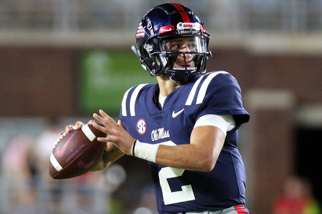 Sep 11, 2021; Oxford, Mississippi, USA; quarterback Matt Corral (2) throws a pass  against the Austin Peay Governors during the second quarter at Vaught-Hemingway Stadium. Mandatory Credit: Petre Thomas-USA TODAY Sports