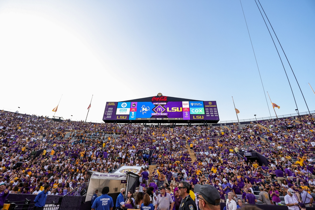 Sep 11, 2021; Baton Rouge, Louisiana, USA;  Fans wait for the LSU Tigers to come out the tunnel during the first half against McNeese State Cowboys at Tiger Stadium. Mandatory Credit: Stephen Lew-USA TODAY Sports