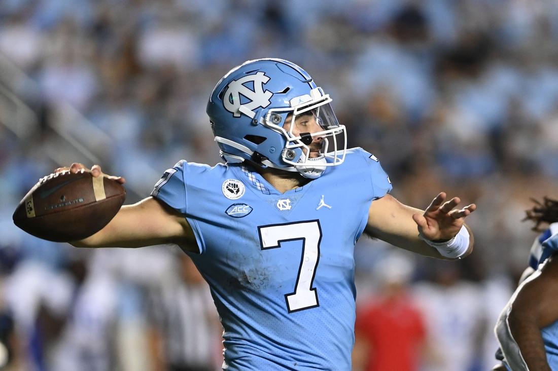 Sep 11, 2021; Chapel Hill, North Carolina, USA; North Carolina Tar Heels quarterback Sam Howell (7) looks to pass in the third quarter at Kenan Memorial Stadium. Mandatory Credit: Bob Donnan-USA TODAY Sports