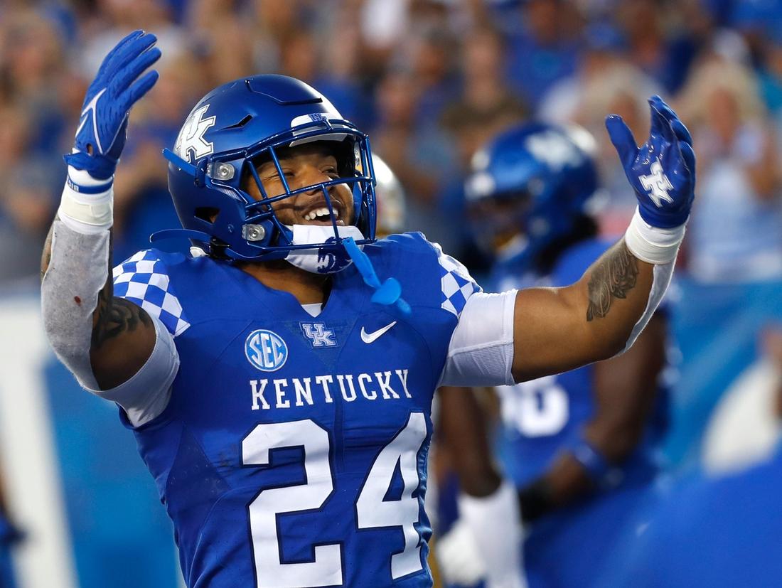 Kentucky   s Chris Rodriguez celebrates after he scores a touchdown against Missouri.Sept. 11, 2021  Uk Missouri 14