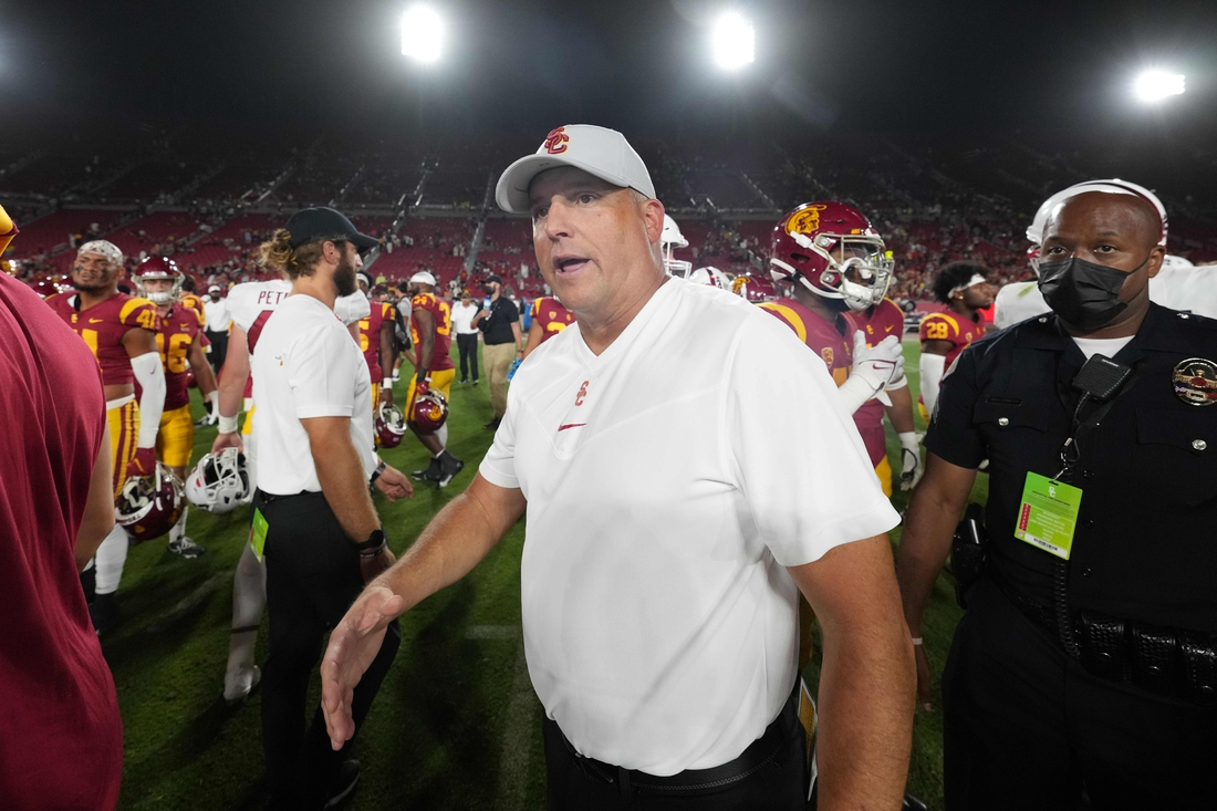 Sep 11, 2021; Los Angeles, California, USA; Southern California Trojans head coach Clay Helton reacts after a game against the Stanford Cardinal at United Airlines Field at Los Angeles Memorial Coliseum. Mandatory Credit: Kirby Lee-USA TODAY Sports