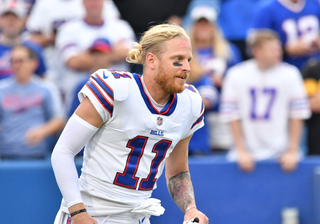 Sep 12, 2021; Orchard Park, New York, USA; Buffalo Bills wide receiver Cole Beasley (11) warms up prior to a game against the Pittsburgh Steelers at Highmark Stadium. Mandatory Credit: Mark Konezny-USA TODAY Sports