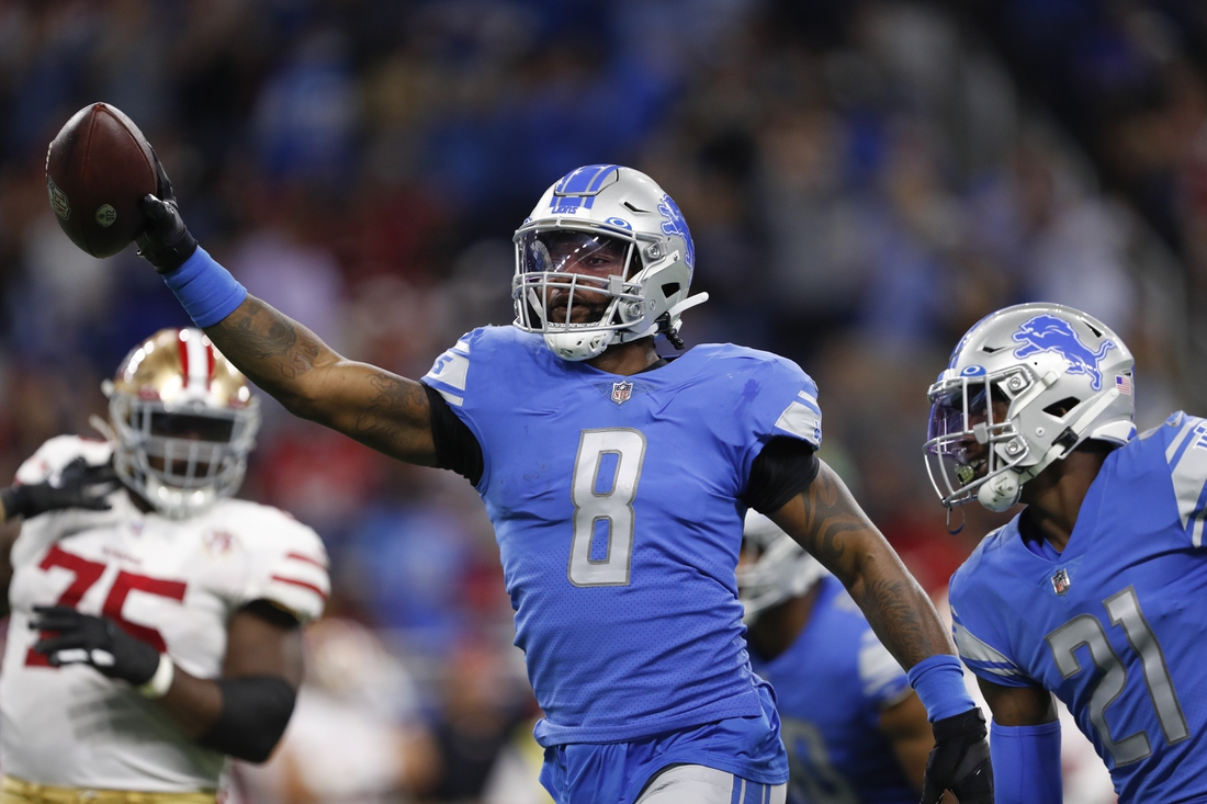 Sep 12, 2021; Detroit, Michigan, USA; Detroit Lions outside linebacker Jamie Collins (8) celebrates after recovering a fumble during the first quarter against the San Francisco 49ers at Ford Field. Mandatory Credit: Raj Mehta-USA TODAY Sports