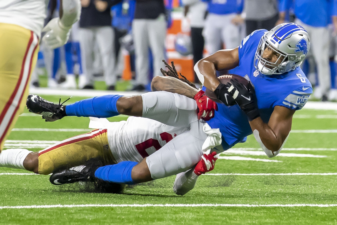 Sep 12, 2021; Detroit, Michigan, USA; Detroit Lions wide receiver Tyrell Williams (6) catches the ball for a first down in the first quarter against the San Francisco 49ers at Ford Field. Mandatory Credit: David Reginek-USA TODAY Sports