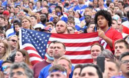 Sep 12, 2021; Orchard Park, New York, USA; Two Buffalo Bills fans hold an American flag during the national anthem before a game against the Pittsburgh Steelers at Highmark Stadium. Mandatory Credit: Mark Konezny-USA TODAY Sports