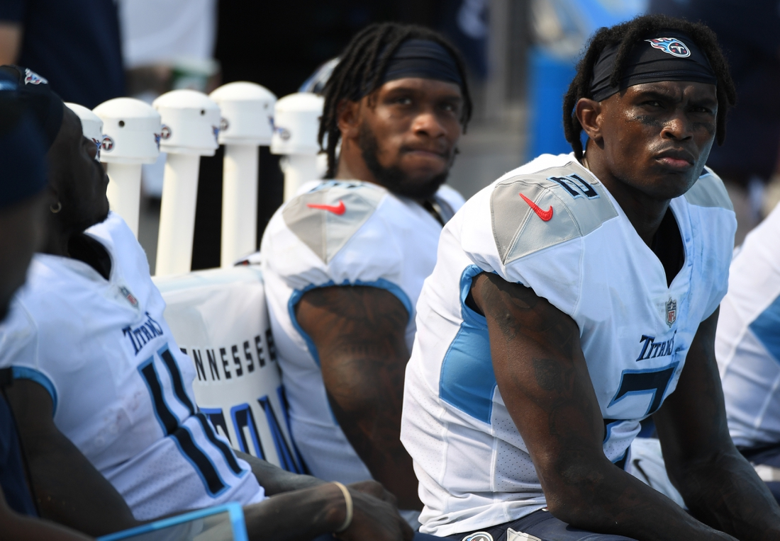 Sep 12, 2021; Nashville, Tennessee, USA; Tennessee Titans wide receiver Julio Jones (2) on the bench late in a loss against the Arizona Cardinals at Nissan Stadium. Mandatory Credit: Christopher Hanewinckel-USA TODAY Sports